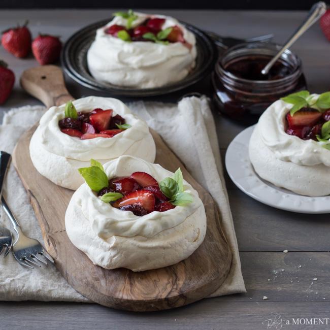 Strawberry-Balsamic-Pavlovas
