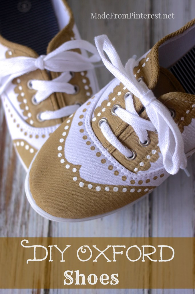 DIY Oxford - Easy way to dress up a pair of simple tennis shoes! This tutorial shoes you how to transform you plain $5 sneakers into something special.