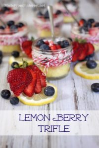 Lemon Trifle With Lemon Curd Whipped Cream - cute Mason jar dessert perfect for cookouts and picnics. Put a lid on the jar and store in the cooler.