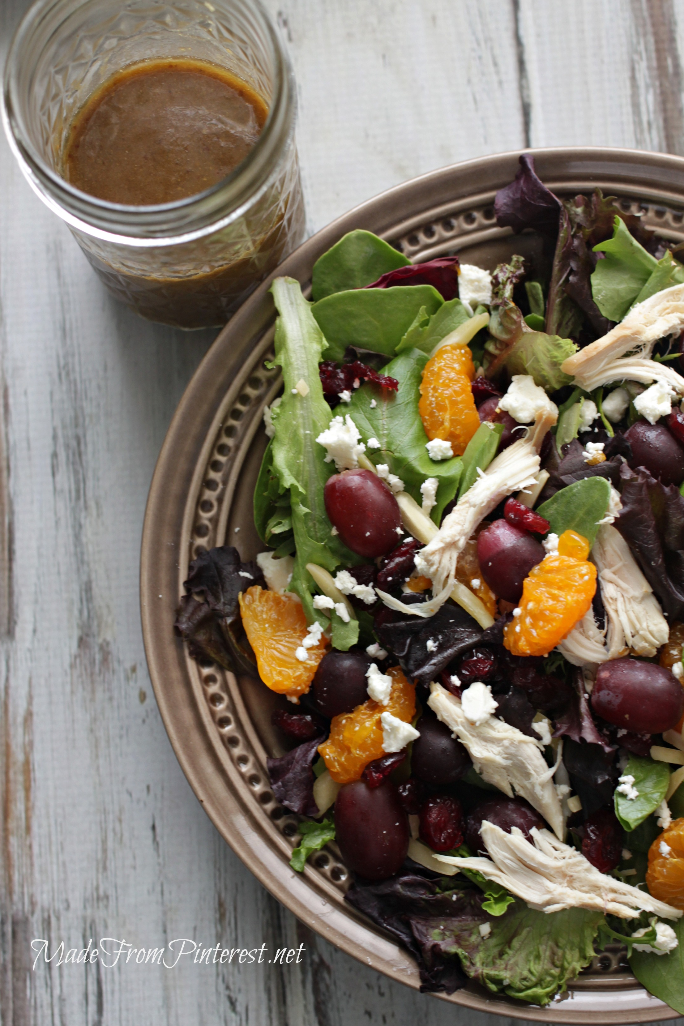 Mediterranean Chicken Salad with Creamy Balsamic Vinaigrette. Perfect blend of flavors and colors!