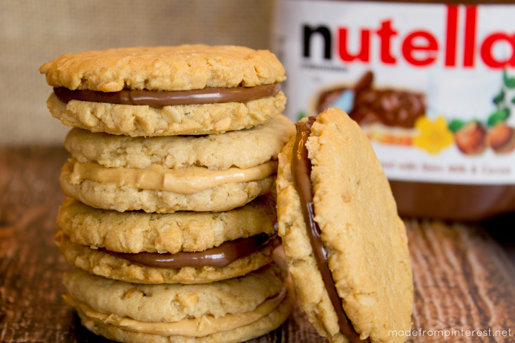 PB Oatmeal Sandwich Cookies with Nutella!