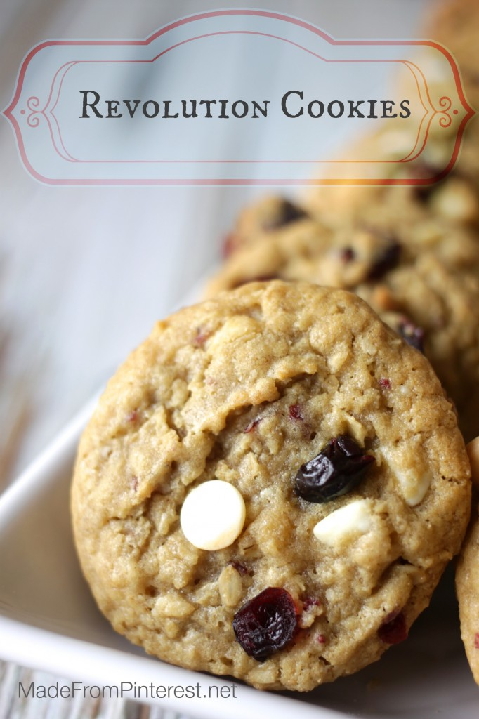 Revolution Cookies are a cookie the Founding Fathers would have been proud to eat. With oatmeal, white chips, dried cranberries and blueberries these red, white and blue all American cookies are sure to please!