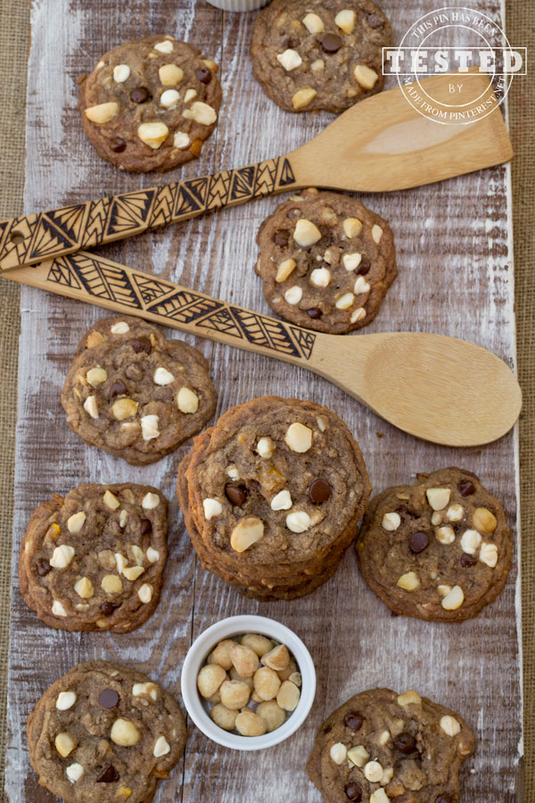 Tropical Paradise Cookies - I decided to change up an old tried and true Chocolate Chip Cookie recipe.This time I added white and bittersweet chocolate chunks and white nad bittersweet chocolate chips, coconut, macadamia nuts and chopped dried mango! The dried mango makes these cookies to die for!
