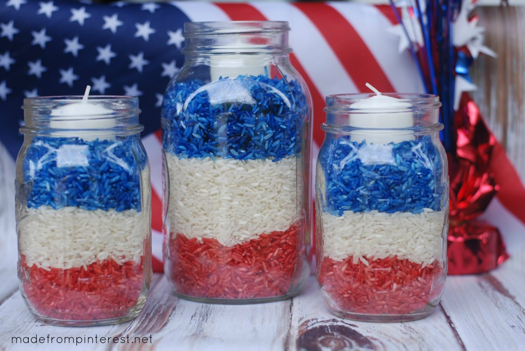 4th of July Mason Jar Candles