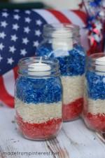 4th of July Mason Jar Candles.  So easy!