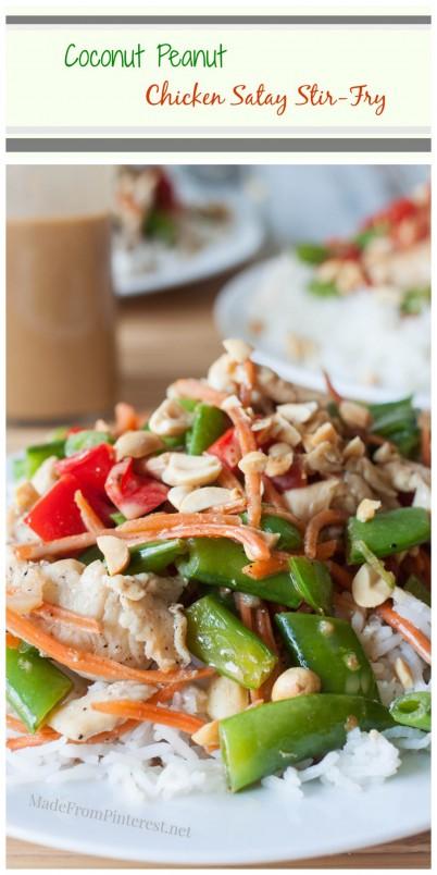 Coconut Peanut Chicken Satay Stir-Fry - 30 minutes to a crunchy, creamy, healthy dinner!