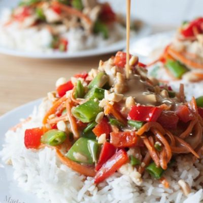 Coconut Peanut Chicken Satay Stir-Fry