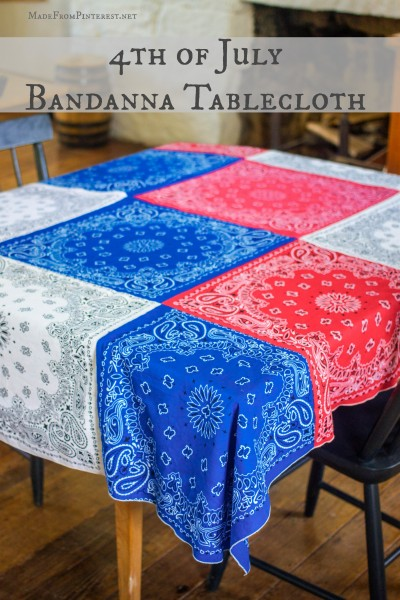 How to make your own Bandanna Tablecloth for 4th of July.