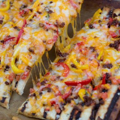 Grilled Flatbread with Chorizo & Peppers