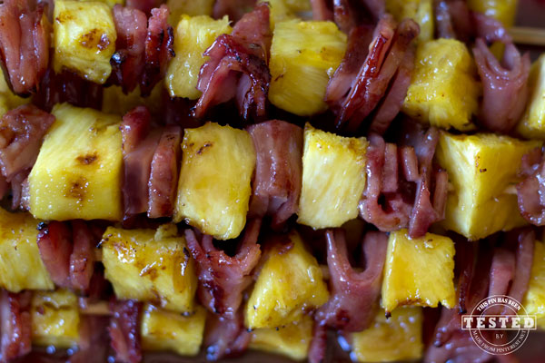 Glazed Ham and Pineapple Kabobs - This appetizer is quick and easy to make. The brown sugar coconut glaze is what makes these kabobs truly amazing. They are the perfect addition to any BBQ!