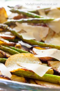 Grilled Potatoes Asparagus Parmesan- A BBQ side dish made on the grill that really wows! The flavor of the vinaigrette is unforgettable.