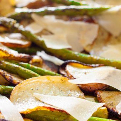 Grilled Potatoes Asparagus Basil Parmesan