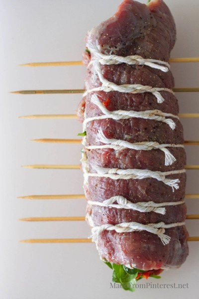 Stuffed Flank Steak Kabobs - This method is easy, presentation is elegant and the steak pinwheels cook up in a flash!