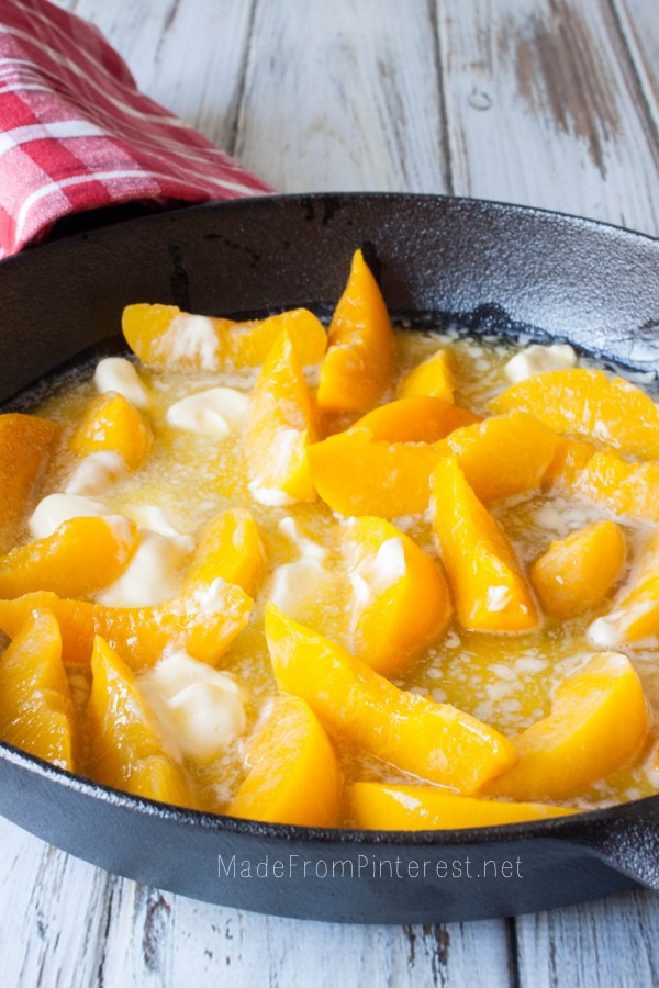 Two Two Easy Peach Cobbler starts with peaches and melted butter. Now ...