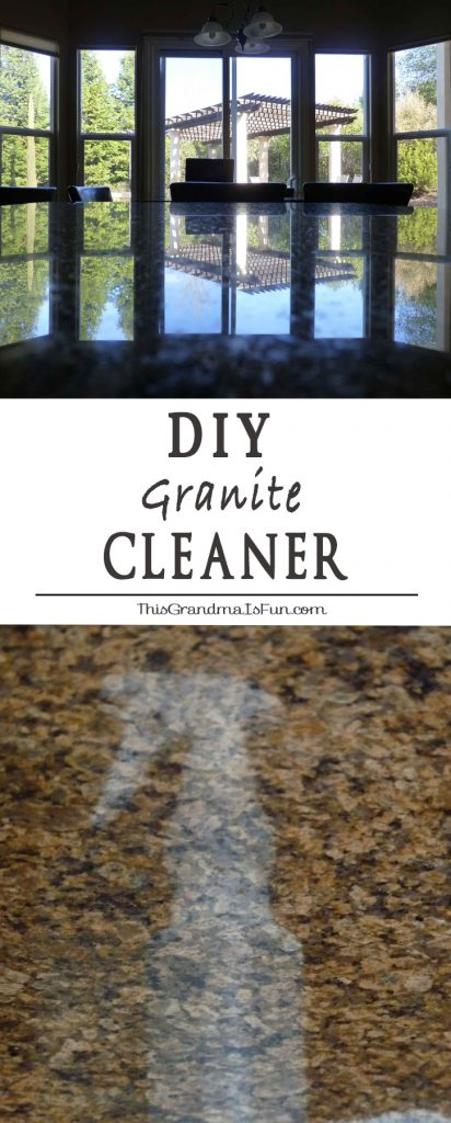 "DIY Granite Cleaner Here is what you need to know about safely cleaning granite, marble and stone surfaces. These surfaces do NOT do well with acidic (citrus-based) cleaners. The vinegar or citrus can cause what looks like ""etching"" on your granite counter tops. Windex is another no go, it will quickly strip the ""seal"" off of your granite/stone. You are now left with two options, expensive over the counter products or make your own. This granite cleaner only uses four ingredients, is inexpensive to make, and produces beautiful results. The photos above show how beautiful my counters look after using my granite cleaner."