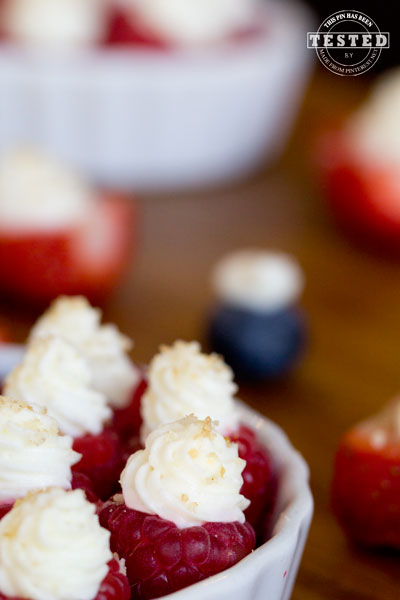 Deviled Berries - Strawberries, raspberries and blueberries filled with a lemon cream cheese and whip cream filling. The lemon flavor really gives this light fruit filling the perfect tangy flavor!