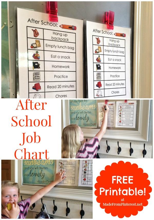 Free Printable After School Job Chart