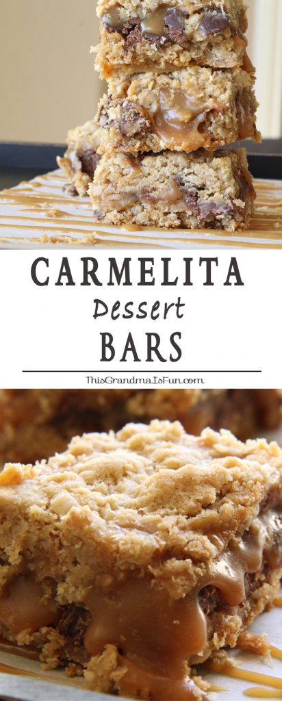 Dripping in ooey gooey caramel and chocolate, these oatmeal bars are perfect for any occasion. The best part is they are quick and easy to make. Make a batch of gluten free Carmelitas by using gluten free flour and certified gluten free oats. They taste just as good when made gluten free. They are one of our all-time family favorite recipes!