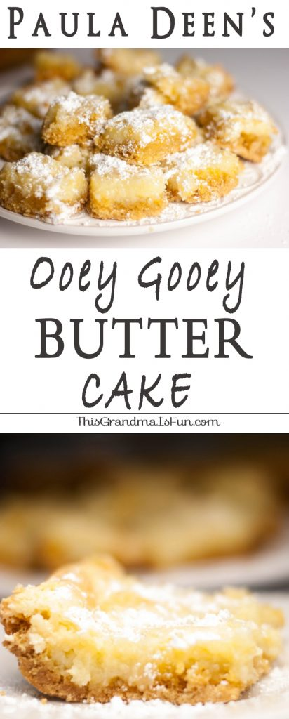 "Paula Deen's Ooeg Gooey Butter Cake When you hear the word ""butter"" who do you think of?  Paula Deen?  Me too.  I have never made a single recipe from Paula Deen (sorry Paula!  I still like ya'll!) but I have seen this Paula Deen's Ooey Gooey Butter Cake pinned so many times that I couldn't resist.  I have also seen this pinned as ""The Original Neiman Marcus Bars"" and ""Texas Gold Bars"".  Whatever you call them, they ARE ooey, they ARE gooey and they definitely have a rich, buttery flavor everyone will love!"