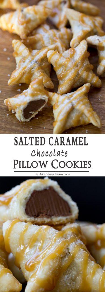 Salted Caramel Chocolate Pillow Cookies