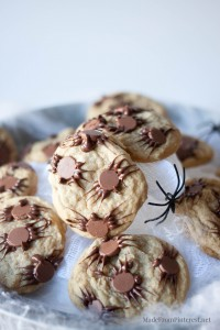 Chocolate Chip Spider Cookies-So easy to transform you favorite cookies into a spooky Halloween treat.