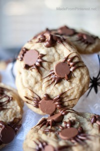Chocolate Chip Spider Cookies-These easy to make spiders transform chocolate chip cookies into a spooky halloween treat!