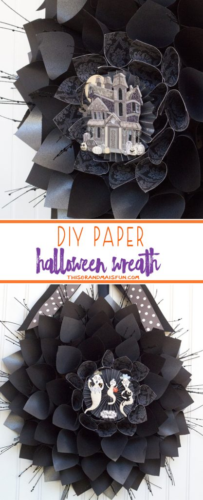 Halloween Wreath - Making this Halloween wreath is easy and fun. Hard to believe something this beautiful is made up of mostly scrapbooking paper!