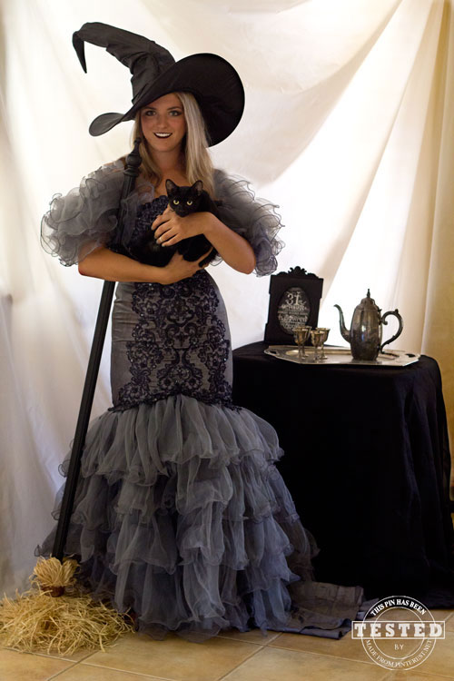 Wicked Witch Costume - DIY Wicked Witch Costume made from a thrift store wedding dress. Use some dye to transform a white wedding dress to a black witch costume for Halloween. This was so much easier to do than I thought it was going to be!