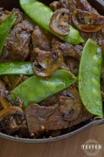 Asian Beef with snow peas and mushrooms in homemade sauce. Tender sirloin steak strips sautéed in fresh garlic.make this dish incredible.