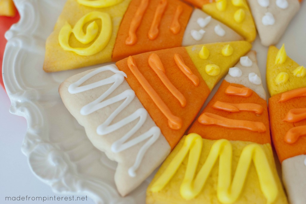 Candy Corn Sugar Cookies. Thick and soft, these cookies make a great fall presentation!