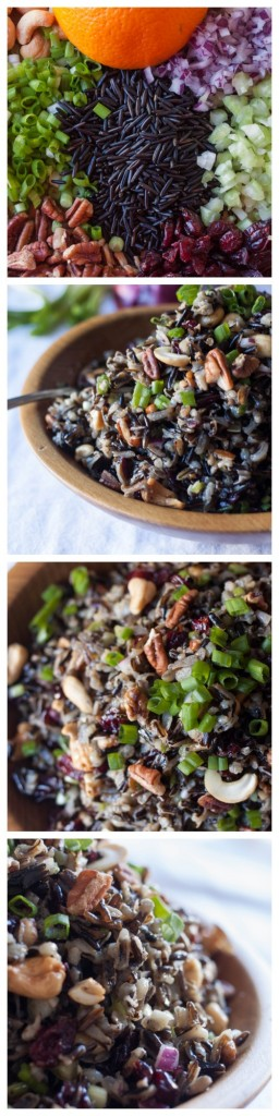 Cold Rice Salad for Fall-Wild rice, nuts, dried cranberries and a hint of orange in the vinaigrette. Outstanding! Perfect side for Thanksgiving or Christmas.