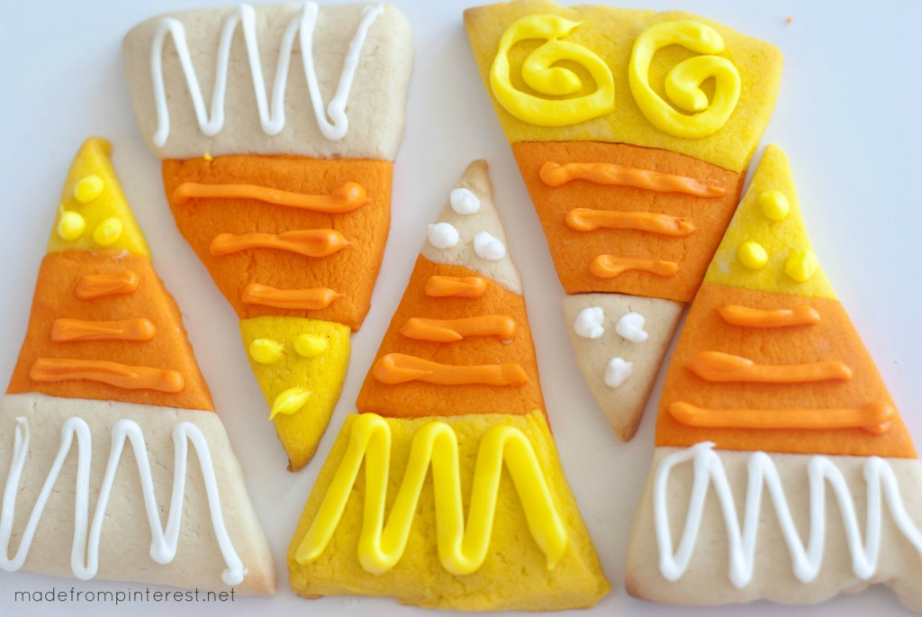 Darling Candy Corn Sugar Cookies! Thick and soft, these cookies are a treat!