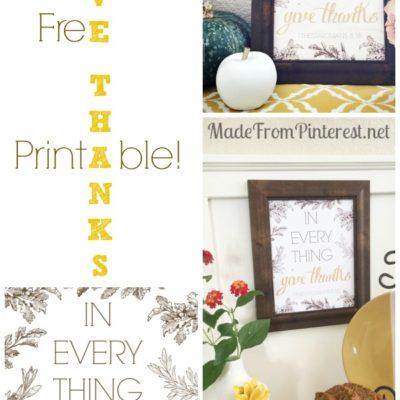 Give Thanks – Free Printable