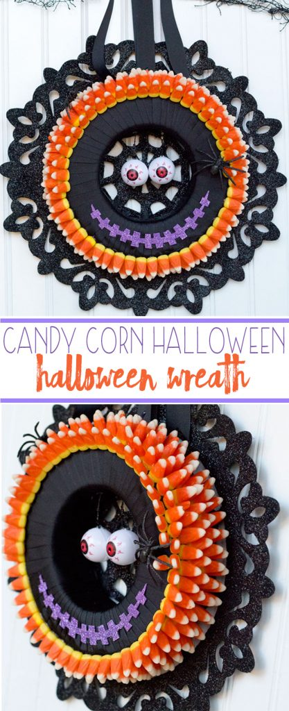 I love making Halloween decorations! This monster candy corn wreath is fun, easy and inexpensive with supplies from Dollar Trees Value Seekers Club.