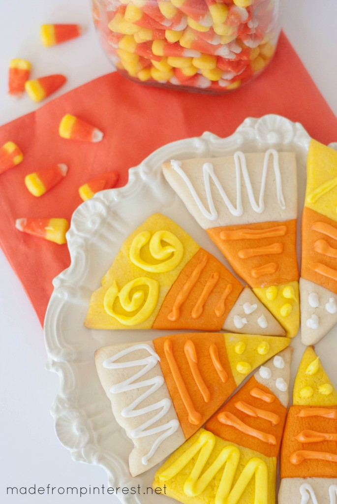 Make these Candy Corn Sugar Cookies instead of eating the candy! No trick, these cookies are a treat!
