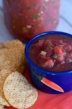 Mom's Best Salsa.  Partly made with a blender, this is a mix between chunky and a puree!