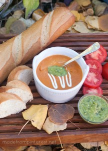 Tomato Basil Soup.  Because you blend this in a blender, this Tomato Soup is creamy beyond compare!