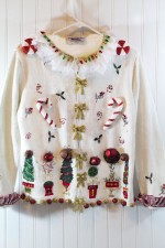 Ugly Christmas Sweater - This sweater easy and quick to make, purchase a thrift store Christmas Sweater then embellish it to make the ugliest sweater ever!