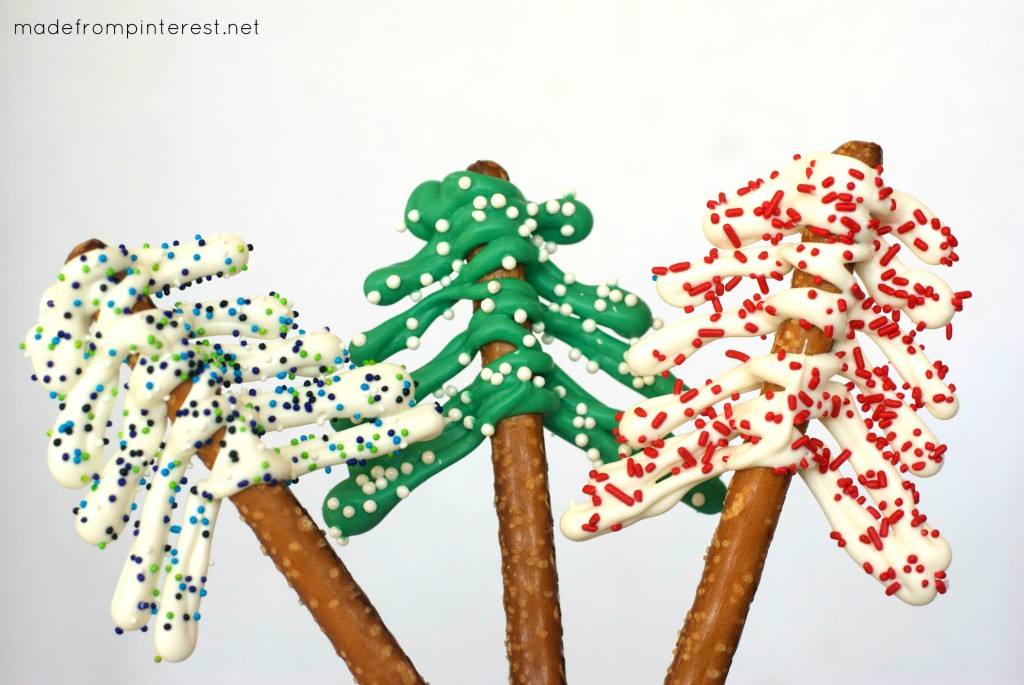 These Pretzel Christmas Trees set up so fast and your kids will love making them!