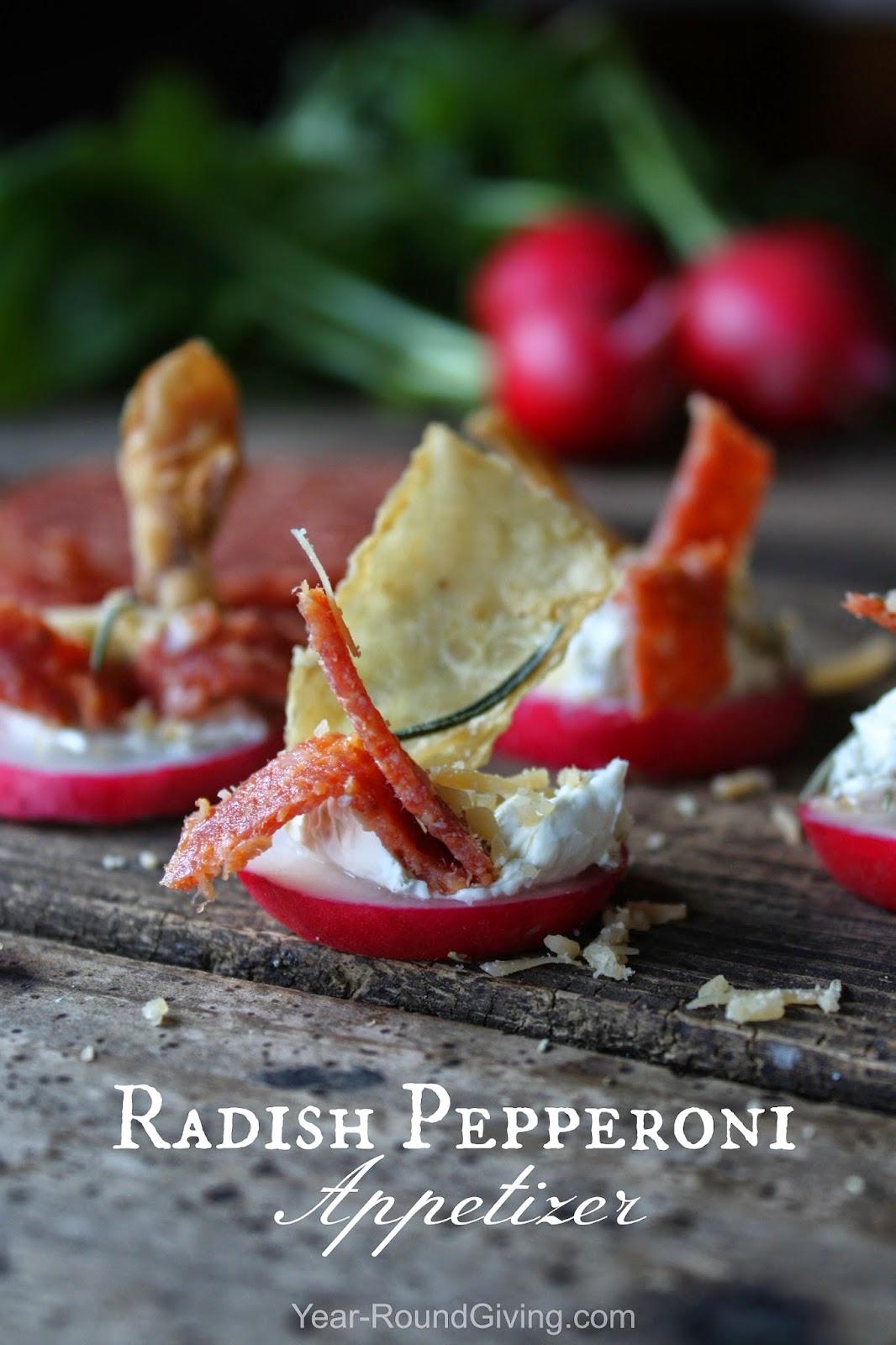 Radish Pepperoni Rustic Appetizer
