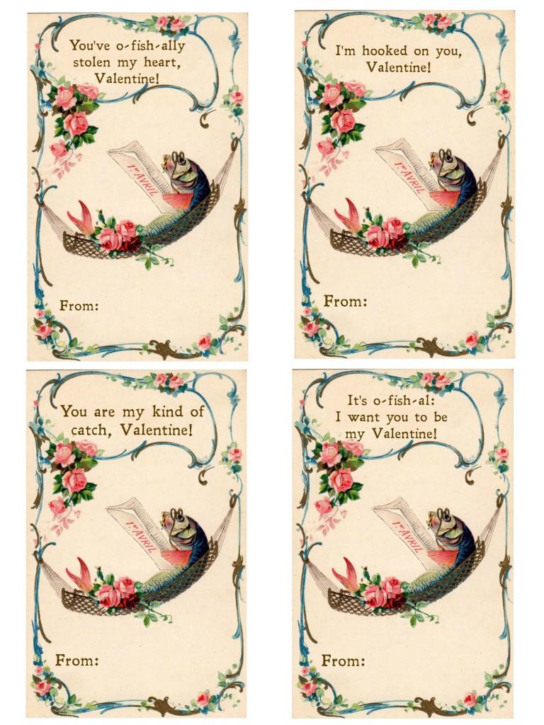 Fish Valentine Printable Cards Small