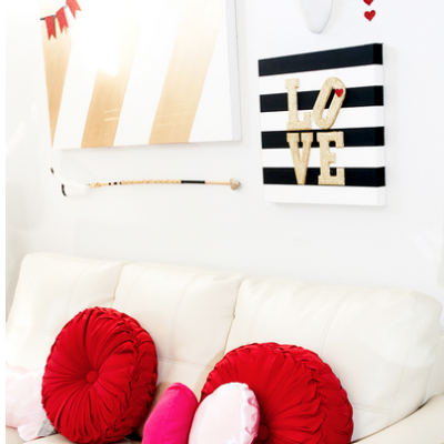 Valentines Glitter and Stripes Wall Art