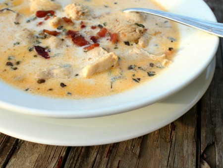 low carb chipotle chicken chowder is creamy goodness- perfect for a blustery cold day. marye audet for madefrompinterest.net