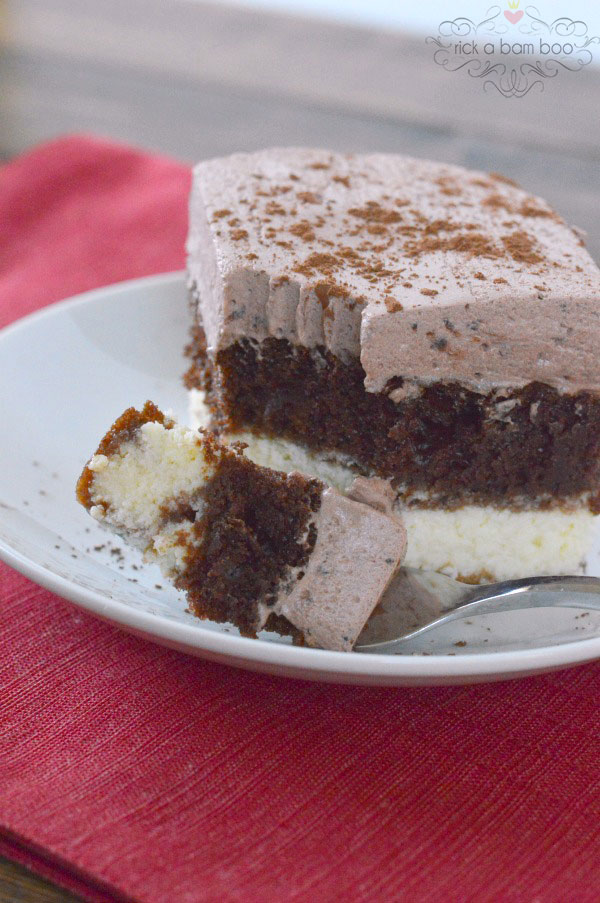 The most amazing Chocolate Italian cake recipe with a chocolatey whipped frosting and cream cheese layer!