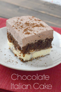 Chocolate Italian Cake with a sweet and creamy cheese layer and topped ...
