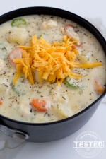 Chicken Potato Chowder - This is comfort food at it's best! Fresh vegetables and chicken surrounded in a creamy, cheesy chicken broth. It's quick and easy to make, a perfect dinner on a busy night!