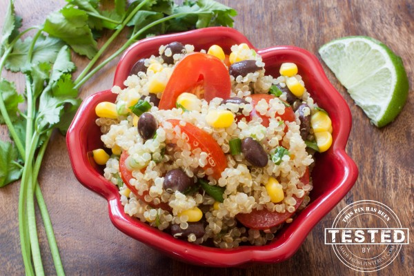 Cilantro Lime Quinoa Salad bowl is so easy to make. So healthy and it only took 30 minutes. Great vegan dish.