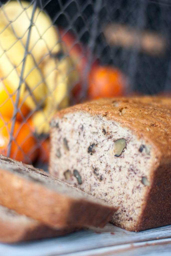 I love the moist texture and the yummy crust of this Banana Nut Bread.