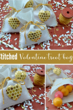Valentine's Day Treat Bag - This fun DIY craft is a quick and easy project that you can enjoy making with your kids. Put a little bling in your Valentine's Day with cute gold sequin hearts.
