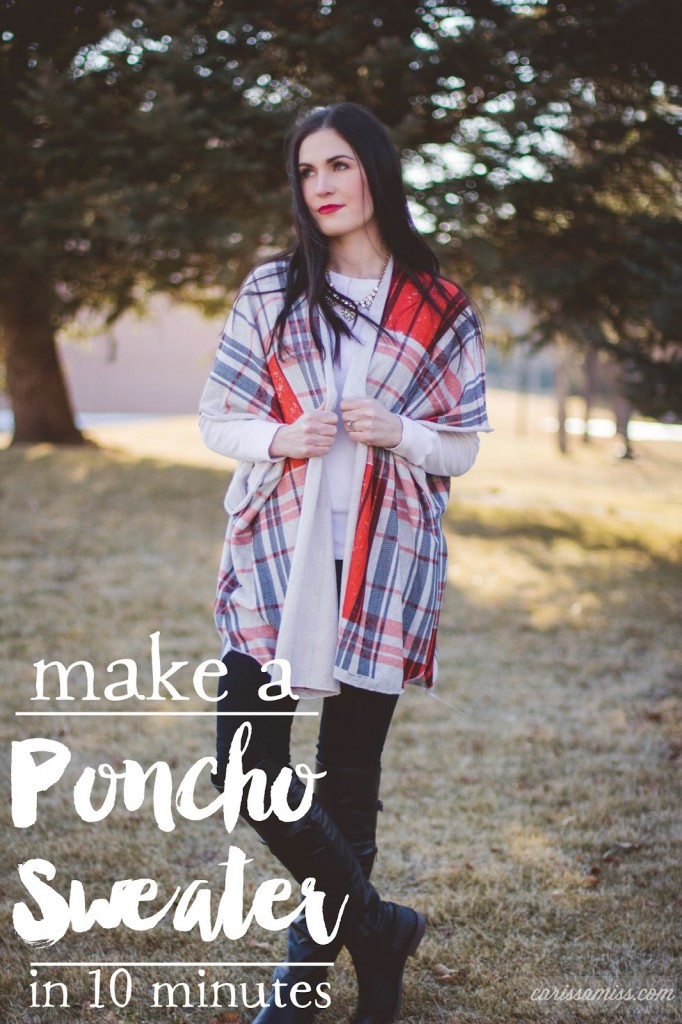 Make this DIY sweater poncho in ten minutes! Easy instructions with simple materials.